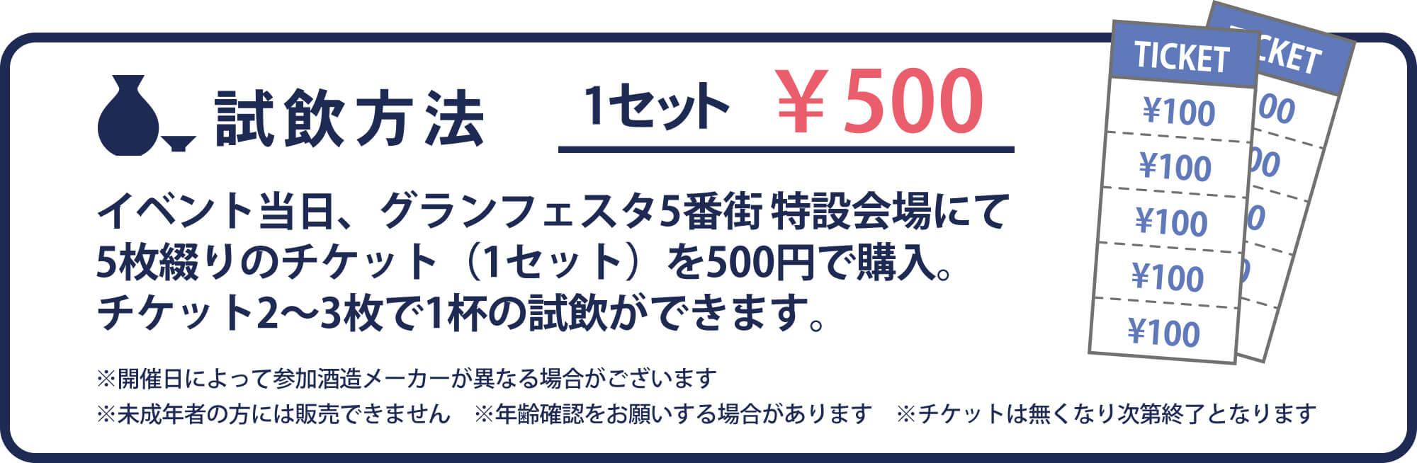 試飲方法 イベント当日、グランフェスタ5番街 特設会場にて5枚綴りのチケット(1セット)を500円で購入。チケット2~3枚で1杯の試飲ができます。